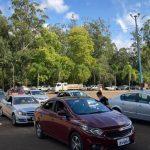 Parque Princesa do Vale passou a ser o local utilizado para o drive thru da vacinação (Foto: Rodrigo Angeli/Prefeitura de Estrela)