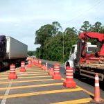 CCR ViaSul reorganizou o trecho da BR-386 na altura do Arroio Boa Vista para possibilitar a passagem de caminhões nos dois sentidos da rodovia (Foto: Reprodução)