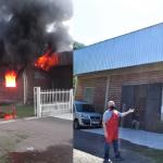 Esquerda para direita: Imagem do incêndio em 10/10/2019 e imagem da reconstrução em 23/04/2021 (Fotos: Divulgação e Gabriela Hautrive)