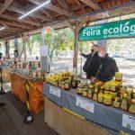 Leite e Silvana visitaram a feira ecológica que funciona no pátio da Secretaria da Agricultura, Pecuária e Desenvolvimento Rural (Foto: Felipe Dalla Valle/Palácio Piratini)