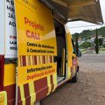Cali 4 rodas está estacionado na praça Júlio Redecker, em Forquetinha (Foto: Caroline Silva)